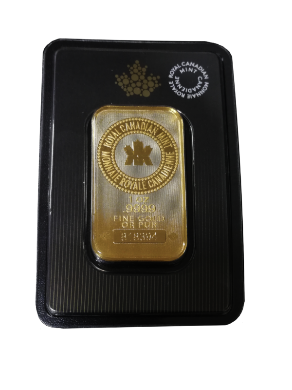 Lingote de Oro Royal Canadian Mint RCM de 1 oz.
